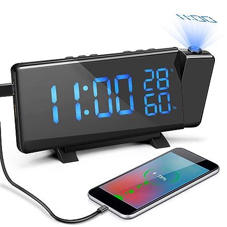 Laelr Reloj Despertador de Proyección, Reloj Despertador de Radio ...