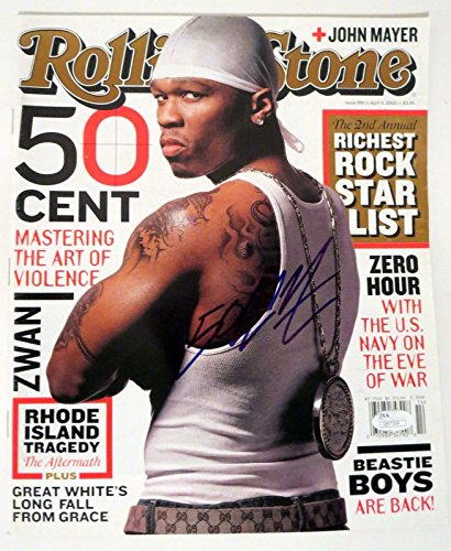 50 Cent rapper REAL hand SIGNED 2003 Rolling Stone magazine JSA COA #1 by Loa_Autographs