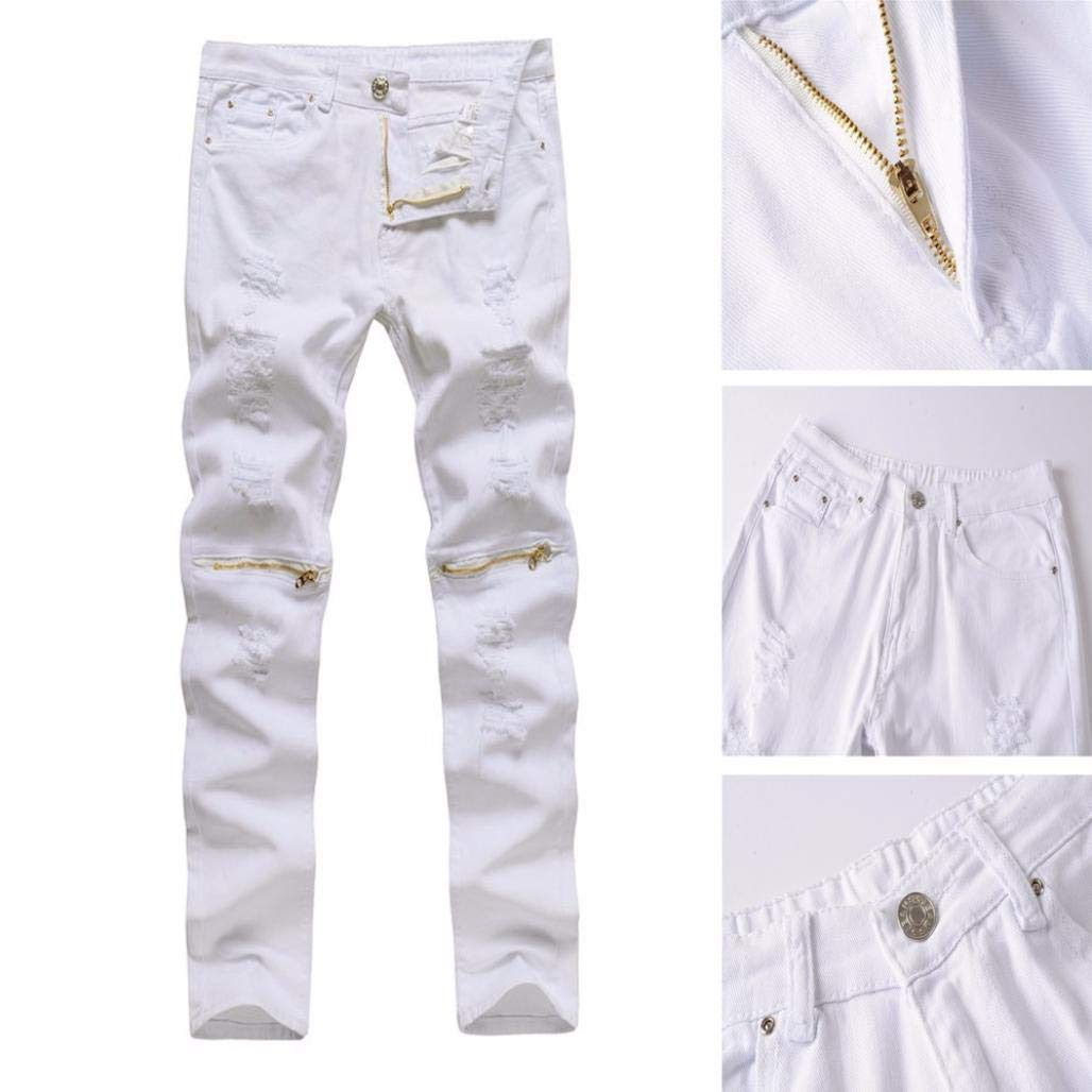 Realdo Clearance Sale, Casual Stretchy Ripped Skinny Jeans Destroyed Solid Slim Fit Pants Daily(30,White) by Realdo (Image #3)