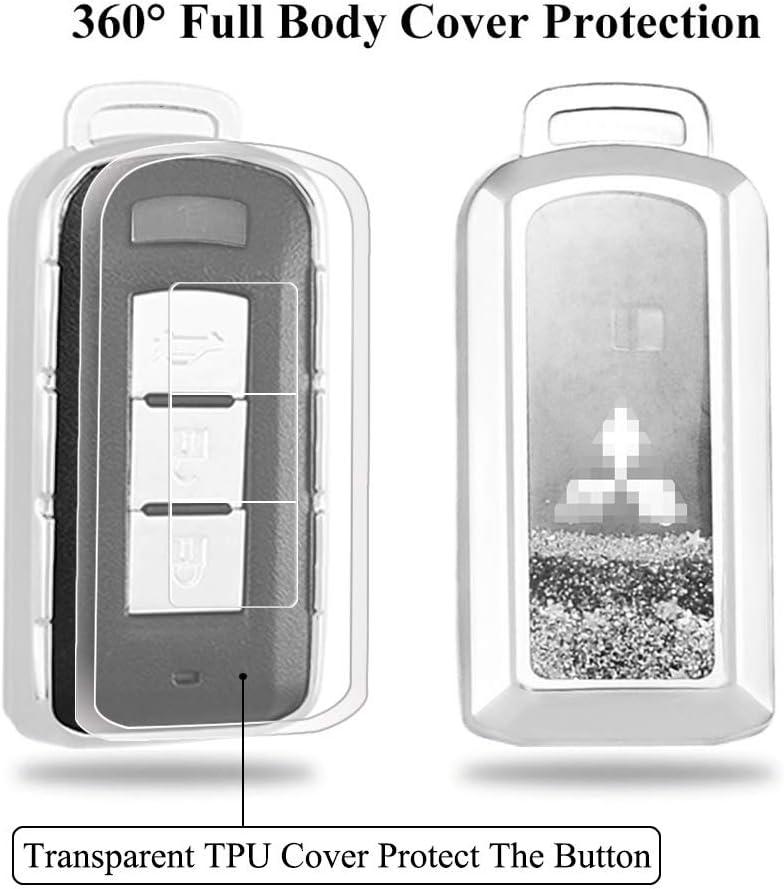 Senauto Quicksand Key Fob Cover Case Keychain for Mitsubishi Pink