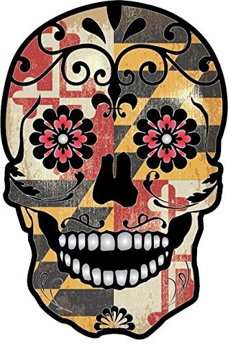 OSMdecals - Grunge Maryland Flag Detailed Mexican Sugar Skull Sticker Series 9 - Day of the Dead Retro Vintage Old Glory Waterproof Car Decal Bumper Sticker ()