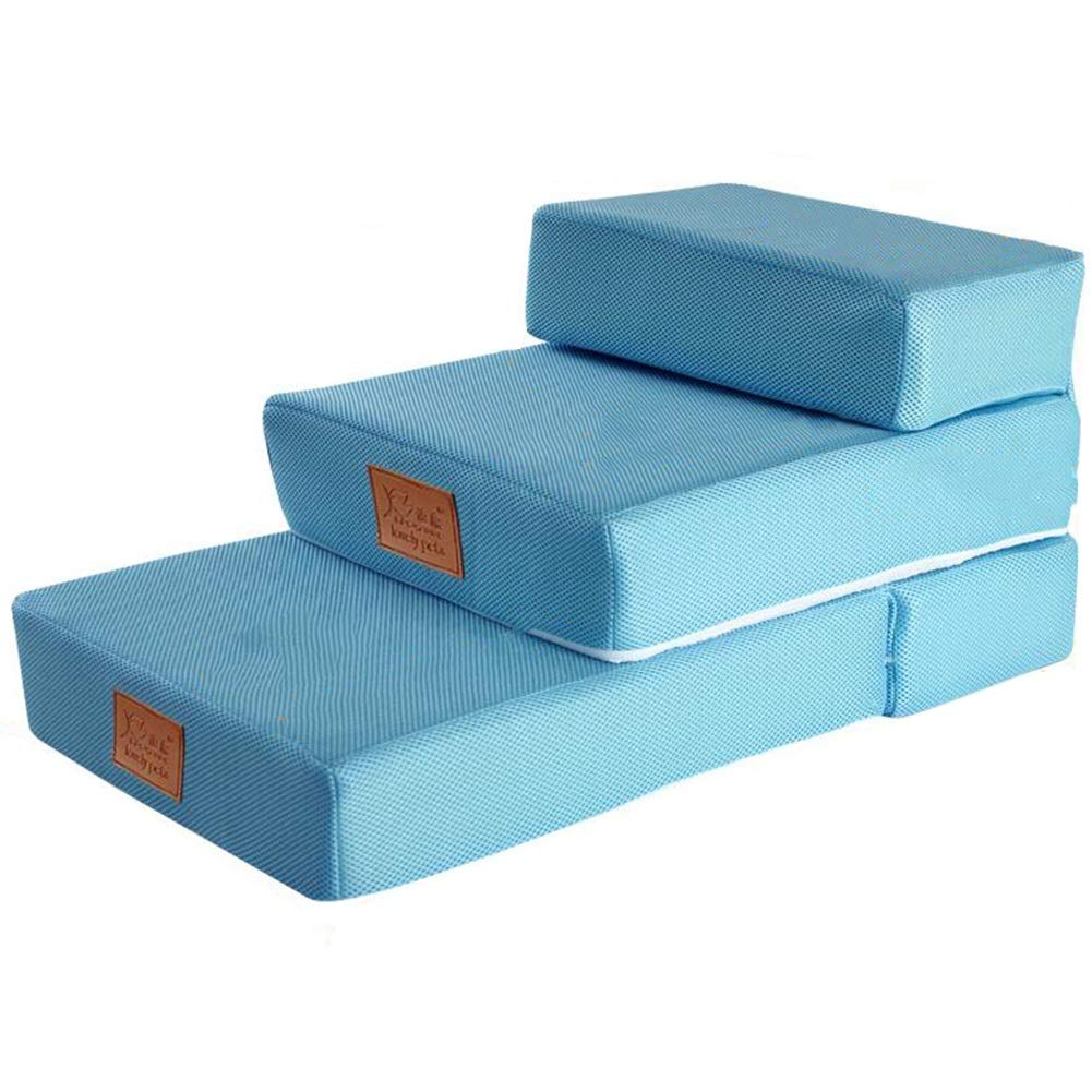 bluee LXLX pet step cushion 3-tier Dog stairs Set of 2 Stacks Removable and washable cover Foldable Pet Gear (color   bluee)