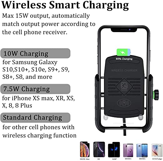 S10E S9 S9+,7.5W for iPhone XR XS MAX XS X 8 8Plus Black NO USB Motorcycle Phone Holder with Wireless Charger,BUENNUS Motorcycle Wireless Phone Charger Mount 10W for Samsung Galaxy S10 S10
