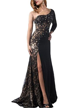 Elegant Long Evening Dress One Shoulder Bridesmaid Prom Party Dresses, Black ,2
