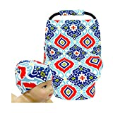SHELLBOBO Breastfeeding Cover Baby Car Set Cover Canopy Shopping Cart Cover Symmetric Floral (blue)
