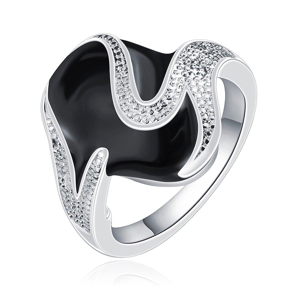 SunIfSnow Women Black Element Creative Personality Retro Jewelry Silver Plated Ring 7