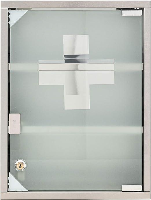 3 Llaves y Material de instalaci/ón Armario botiqu/ín de Acero Inoxidable 40 x 30 x 12 cm Mack