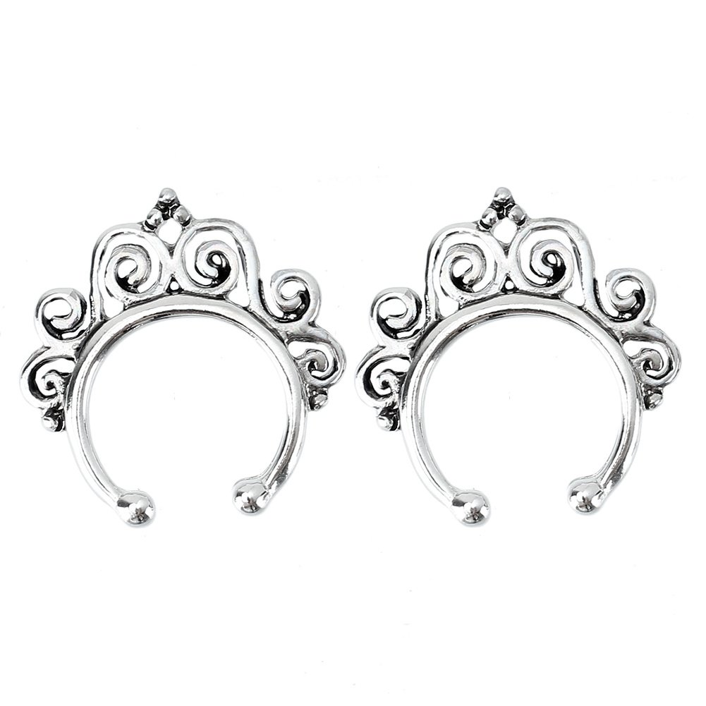 Refaxi 2pcs Fake Septum Non-Piercing Nose Ring Hanger Swirl Clip On Jewelry Silver Tone