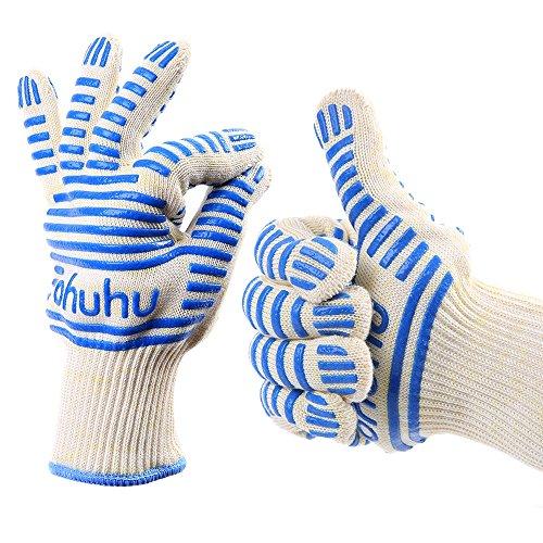 Ohuhu® Topfhandschuhe, Ofenhandschuhe, Backhandschuhe, Ofenhandschuhe Beschichtet, Premium Qualität hitzebeständige Handschuhe, heiße Oberflächen-Zufuhr, Ofen-Handschuh, Flexible BBQ Handschuhe mit langen Stulpen