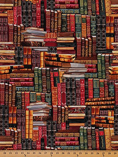 Library Books Book Stack Stacks Libraries Librarian Cotton Fabric Print D570.07