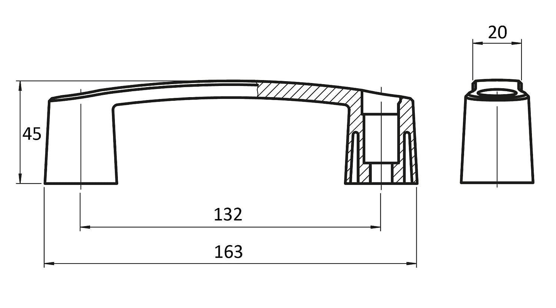 poign/ée avec al/ésage et capuchons Poign/ée 132/mm plastique PA