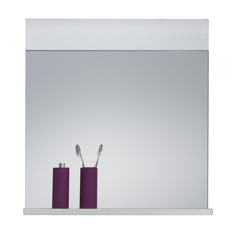 Trendteam Specchio da parete per bagno Skin Gloss, 60 x 55 x 10 cm in bianco lucente con ripiano 1116-401-01