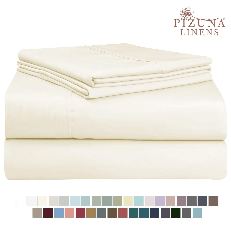 Pizuna 400 Thread Count Cotton Queen Size Cream Sheets Set, 100% Long Staple Cotton 4 PC Sheets, Sateen Cotton Bedding Set fit Upto 15 inch Deep Pocket (Ivory Queen 100 Percent Cotton Sheets)