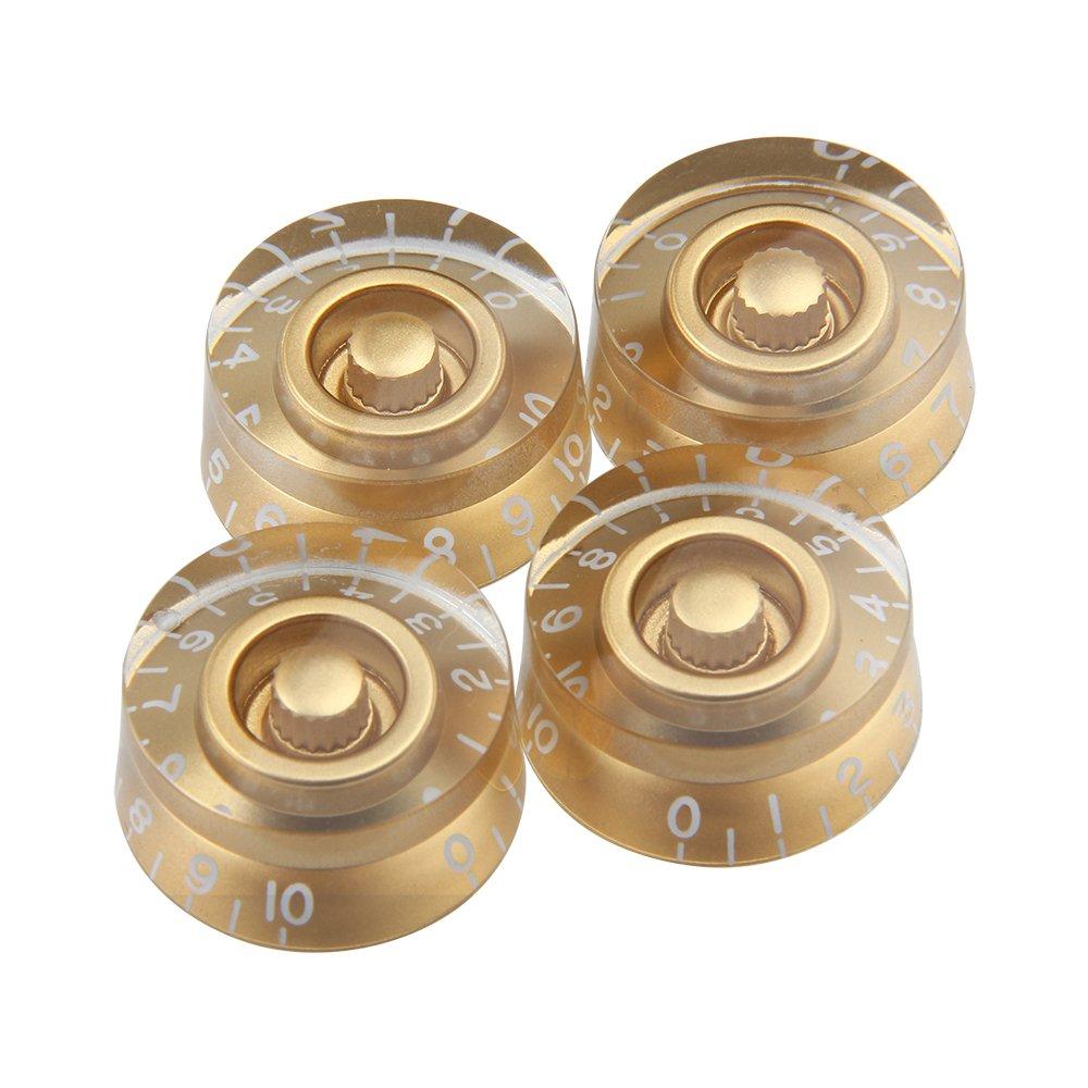 Kmise Electric Guitar Control Speed Knobs for Gibson Les Paul LP Knob Parts Replacement Gold 4 Pcs MUS268367