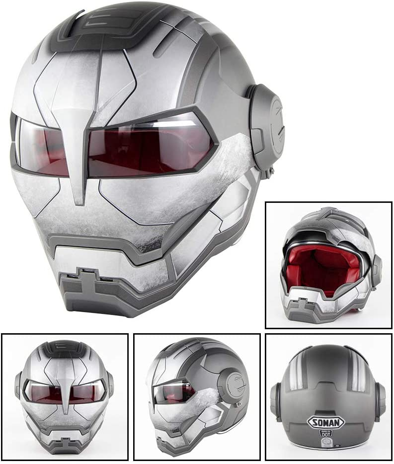 L Casque int/égral de Masque de Moto-Cross homologu/é D.O.T Casque int/égral Iron Man Transformers NF Casque Moto XL M