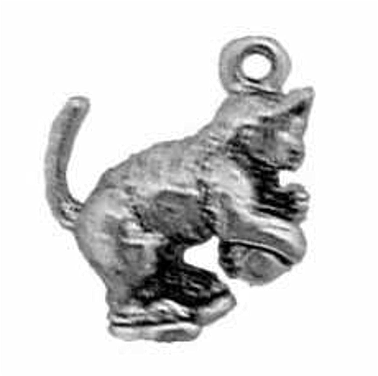 Sterling Silver Womens 1mm Box Chain 3D Kitten Playing Ball Of Yarn Pendant Necklace