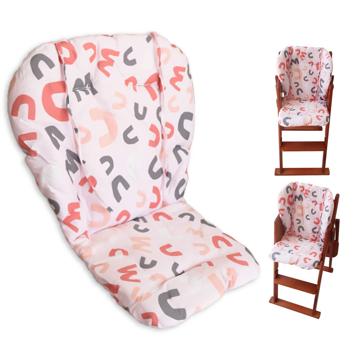 2 Pieces High Chair Pad Ancho Color Stars Pattern Highchair Seat Cushion Protective Film Breathable Pad with Baby High Chair Seat Belt