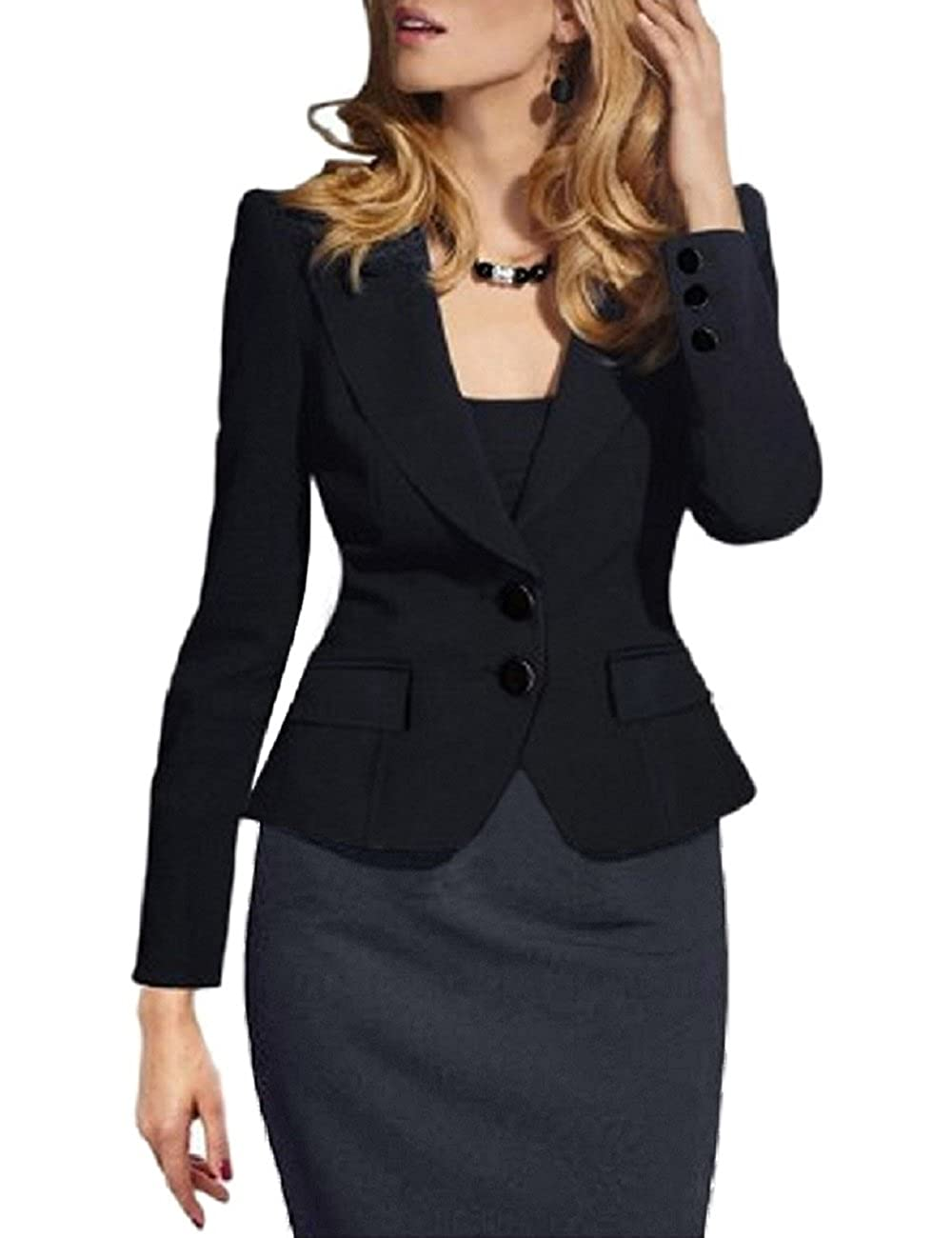 ba8044bec0f SEBOWEL Women s Formal Two Button Slim Fitted Office Work Blazers Jackets  Suits Plus Size S-3X at Amazon Women s Clothing store
