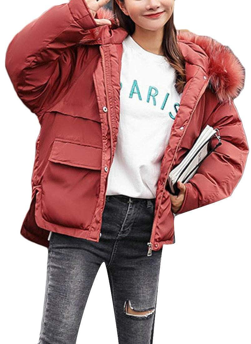 Joe Wenko Womens Winter Loose Faux Fur Hooded Plus Size Down Coat Parkas