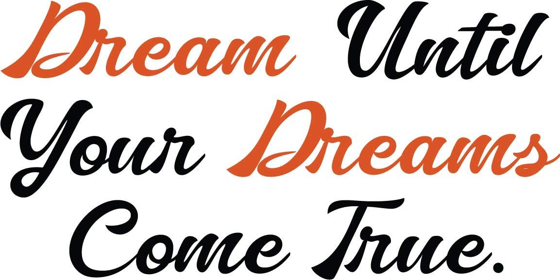 Fabulous Décor: DREAM UNTIL YOUR DREAMS COME TRUE Decal Inspirational Vinyl Sticker Wall art Lifestyle Quote Living room, bedroom, home improvement, fitness, office, kids, dorm16Wx8H (Black & Red)