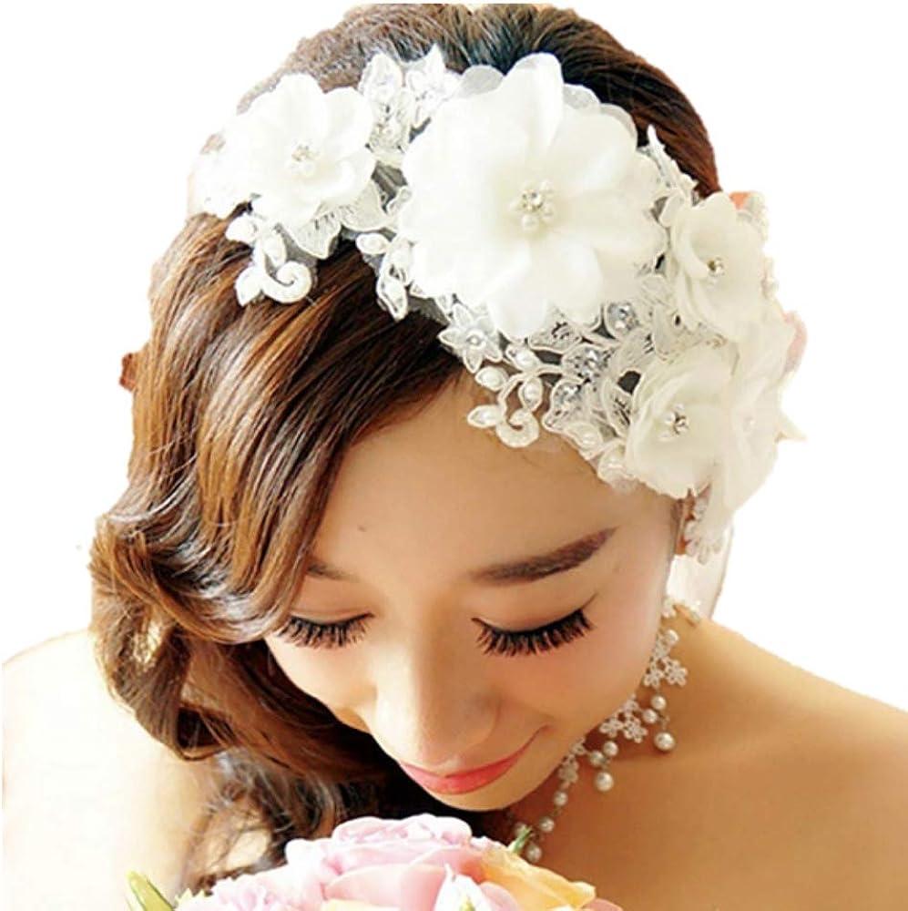 (lunar.maria) ウェディング カチューシャ ヘッドドレス ブライダル 結婚式 パーティー フラワー パール 花嫁 (白)