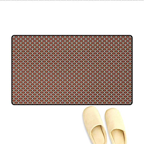 """Door-mat,Vertical Tangled Wavy Stripes Curves in Contrast Colors Old Fashioned,Bathroom Mat for Tub Non Slip,Chocolate White Vermilion,Size:24""""x36"""""""