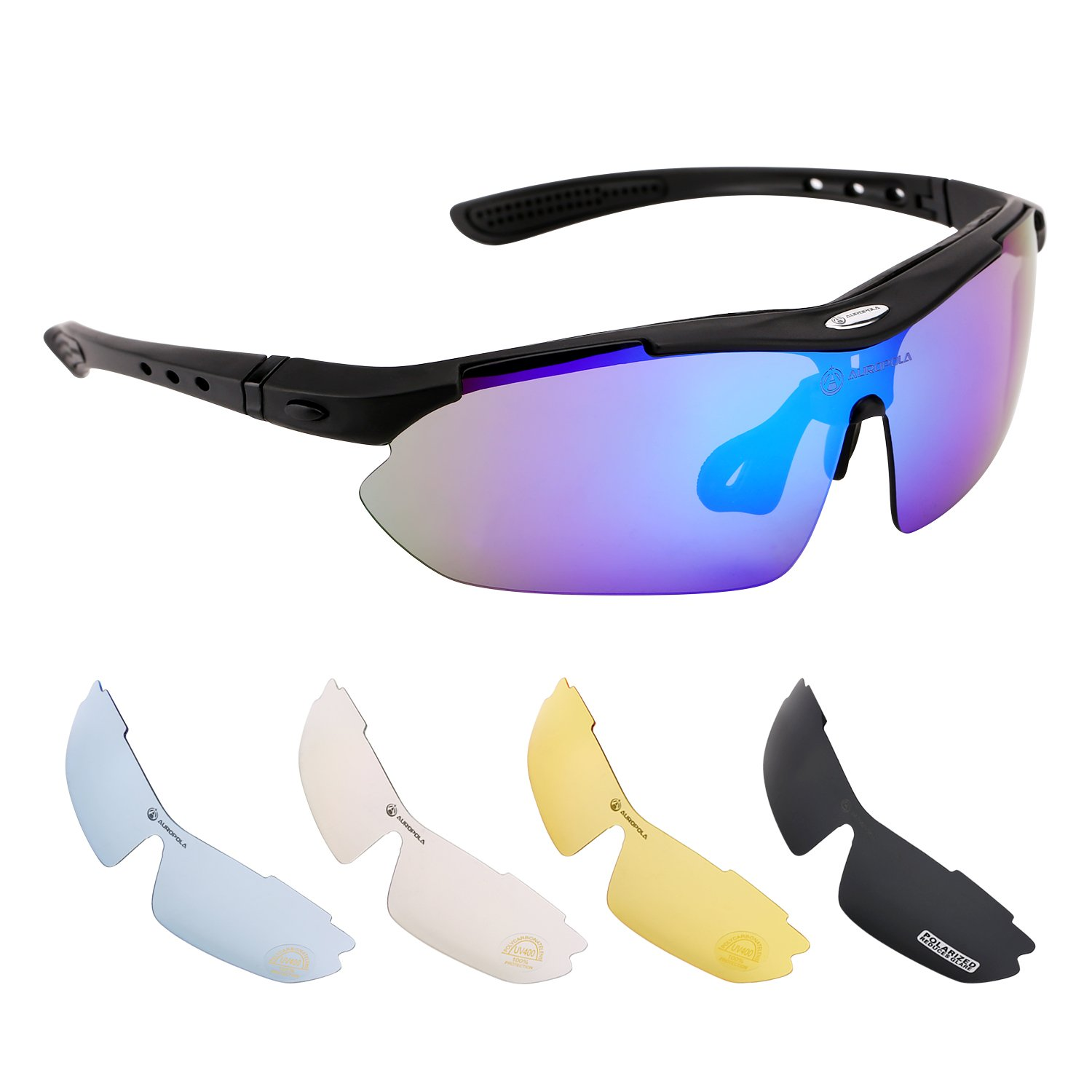 Sports Sunglasses Riding Glasses for Men Women Kids, Cycling Polarized Sunglasses with 5 Lenses for Cycling, Fishing, Running, Driving, Golf, Baseball, Outdoor Activities