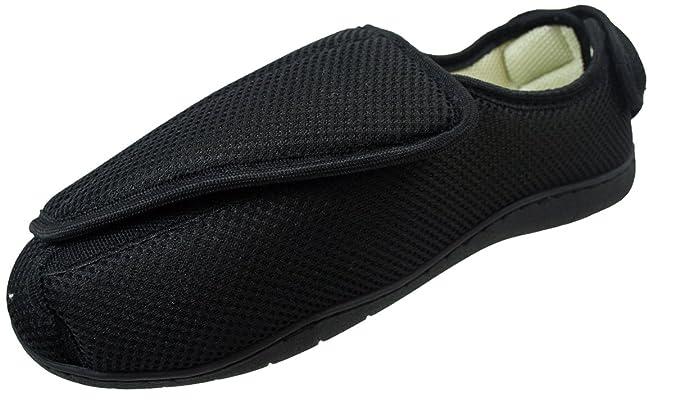 Surf 4 Shoes Hombre Mujer Muy Ancho E/5e Fit Ajuste Espuma viscoelástica Transpirable Cierre Adhesivo Zapatillas - Negro Peep Toe, 43