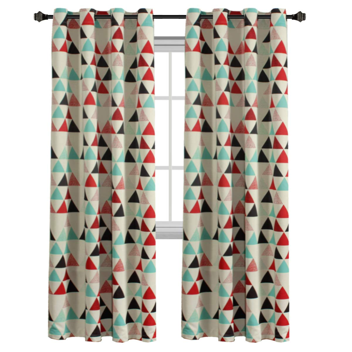 H.VERSAILTEX Ultra Sleep Energy Efficient Blackout Curtain Antique Copper Grommet Panel Drapes for Bedroom/Living Room, 1 Panel, 52x96 Inch Long-Stone Blue/Red/Beige Triangle Pattern