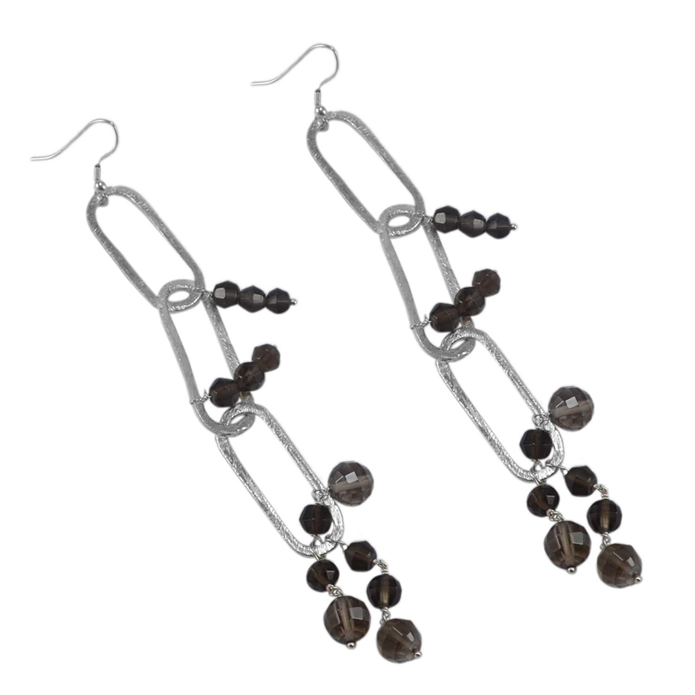 Saamarth Impex Smoky Quartz Gemstone 925 Silver Plated Dangle Earring PG-127737