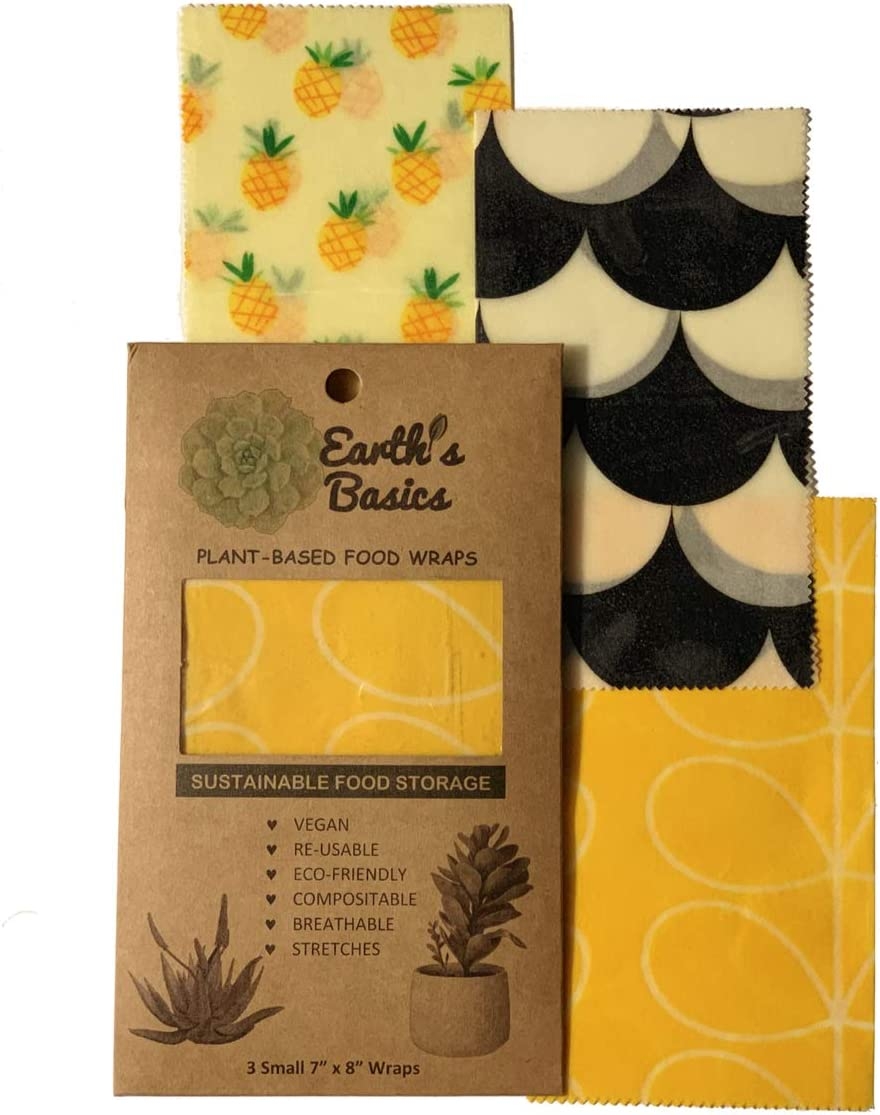 Reusable Organic Food Wraps, Assorted Design 3 Pack by Earth's Basics - Plant Based Food Eco Wrap, Vegan, Non-Toxic, Biodegradable, Eco Friendly - 3 Small Wraps