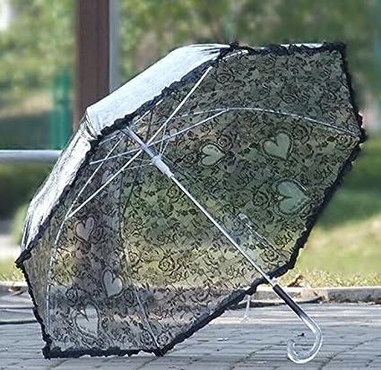 Imitación de encaje damas paraguas largo paraguas transparente paraguas transparente rosa paraguas (Color : Negro