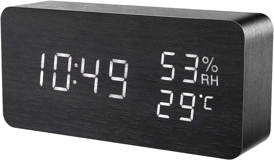 KeeKit Digital Wooden Alarm Clock, Electronic LED Desktop Clock with Temperature Humidity Time Display, 3 Alarm Settings, Voice Control, 3 Levels Adjustable Brightness for Home, Bedroom, Office