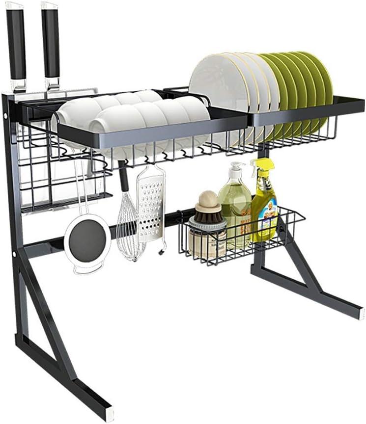 シンク皿乾燥ラック、黒のステンレス製水切りディスプレイ棚、調理器具ホルダー付きカウンタートップスペースセーバー食器オーガナイザー(サイズ:シングルシンク64cm)
