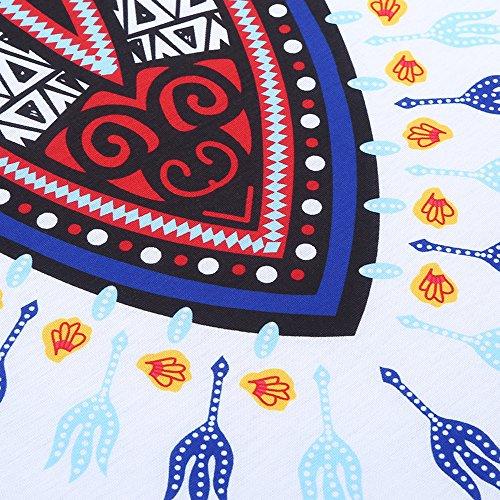 Bonboho Homme Dashiki Shirt Long à Manches Courtes Style Africain Impression Col Rond Tribal Festival Hippie Tops T-Shirt Fashion Chemise