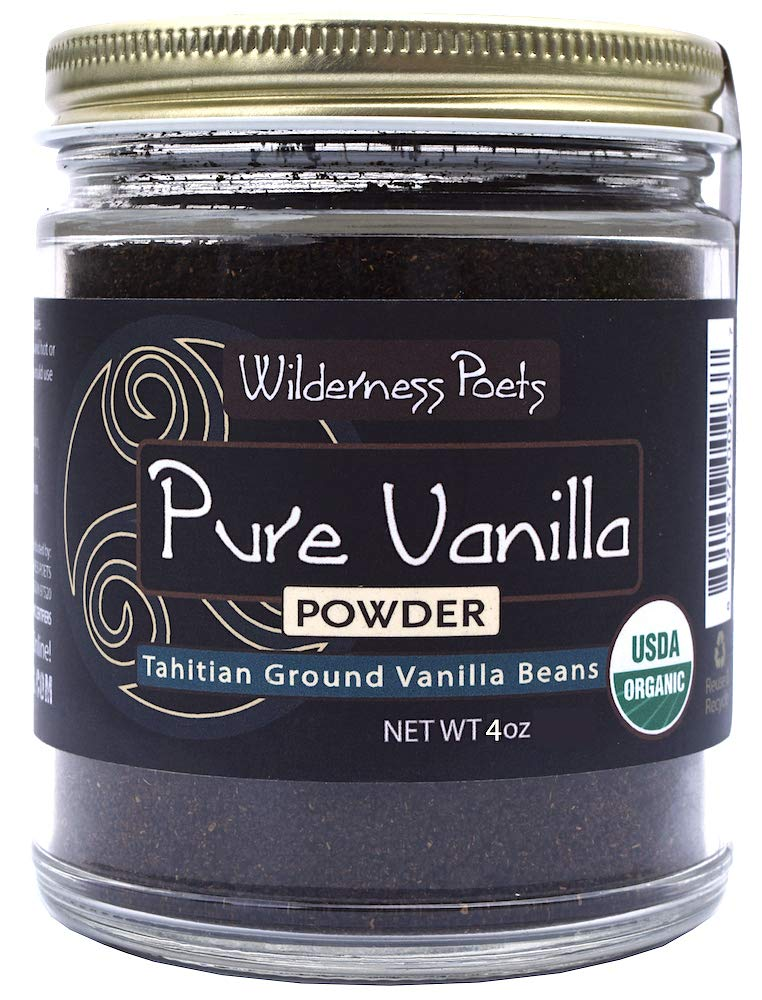Wilderness Poets Pure Vanilla Powder - Organic Vanilla Bean Powder - Tahitian Variety (4 Ounce)
