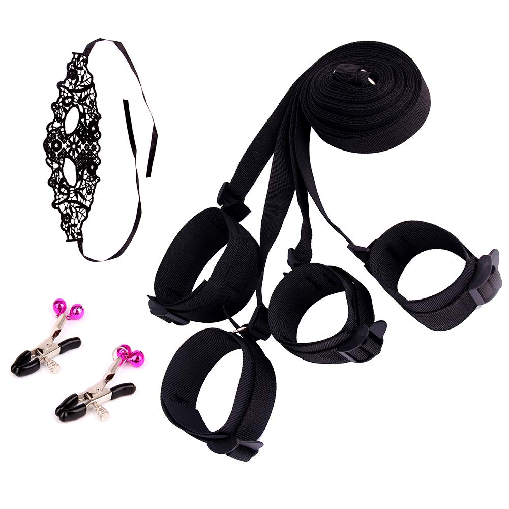 Hand Cuffs Straps For Legs Under The Bed Soft Comfortable Adjustable Fit Any Size Mattress With Eye Mask And Clamp
