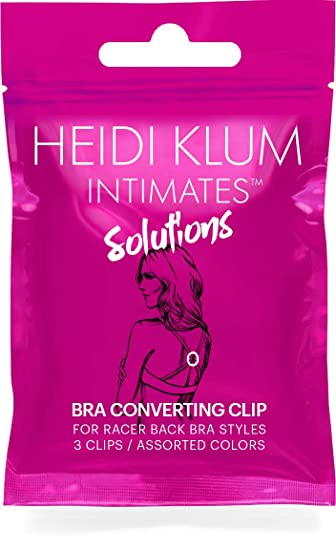 568a261df4a6 Heidi Klum Intimates Solutions Racerback Bra Strap Converter Clip - 3 Pack  - Black, Nude, Clear - Assorted, One Size at Amazon Women's Clothing store: