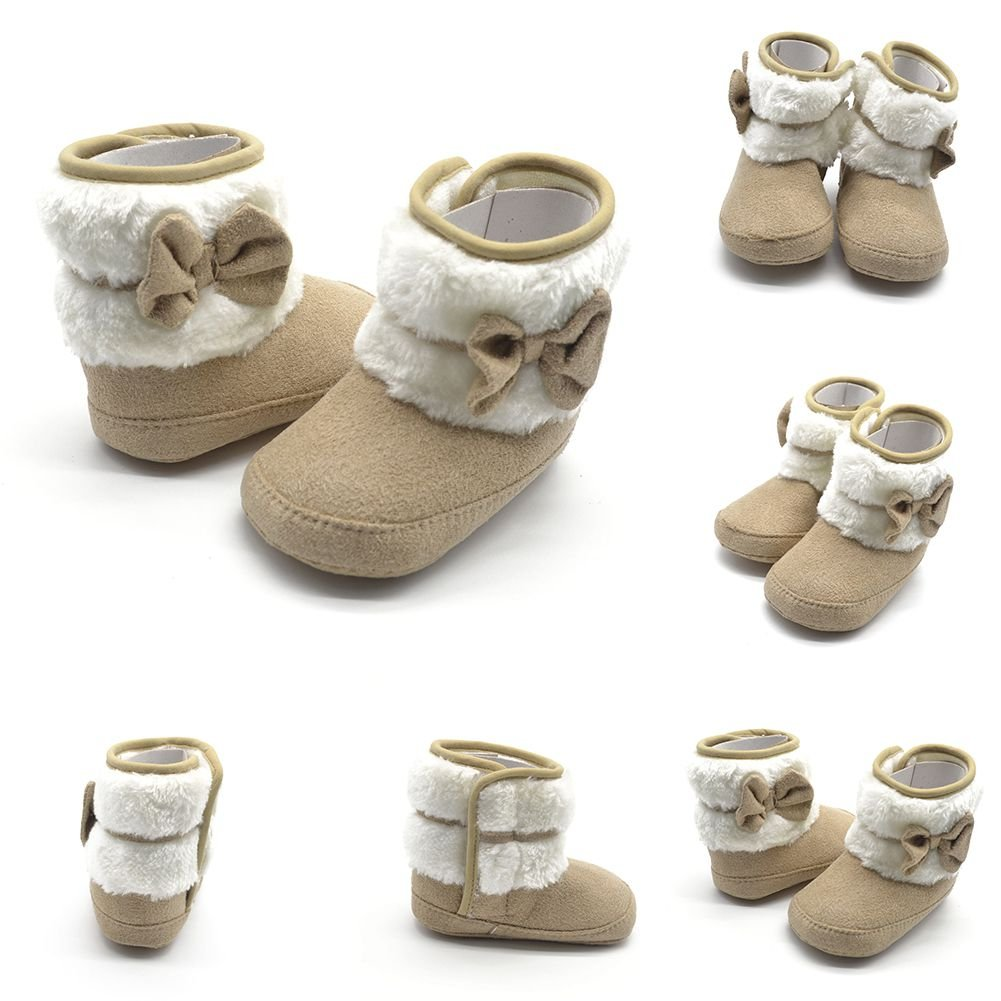 Weixinbuy Baby Girls Bowknot Fleece Crib Shoes Princess Snow Boots