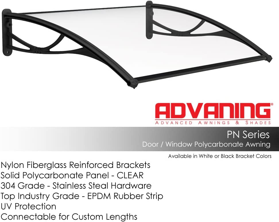 ADVANING 47 X31 Polycarbonate Door Awning PN Series PREMIUM Quality, 100 Bayer Raw Material Solid Sheet, Color Black Brackets, DA4731-PBS1N