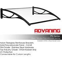 ADVANING DA4731-PBS1N PN Series, Top Quality Crystal Polycarbonate Door/Window Awning Ideal for Rain, Snow and UV Protection, 47
