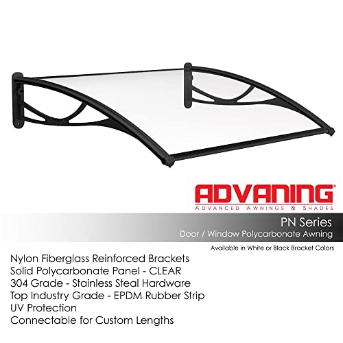 Advaning DA5531-PBS1N PN Series Door Awning, 55 W x 31 D, Clear Black Brackets
