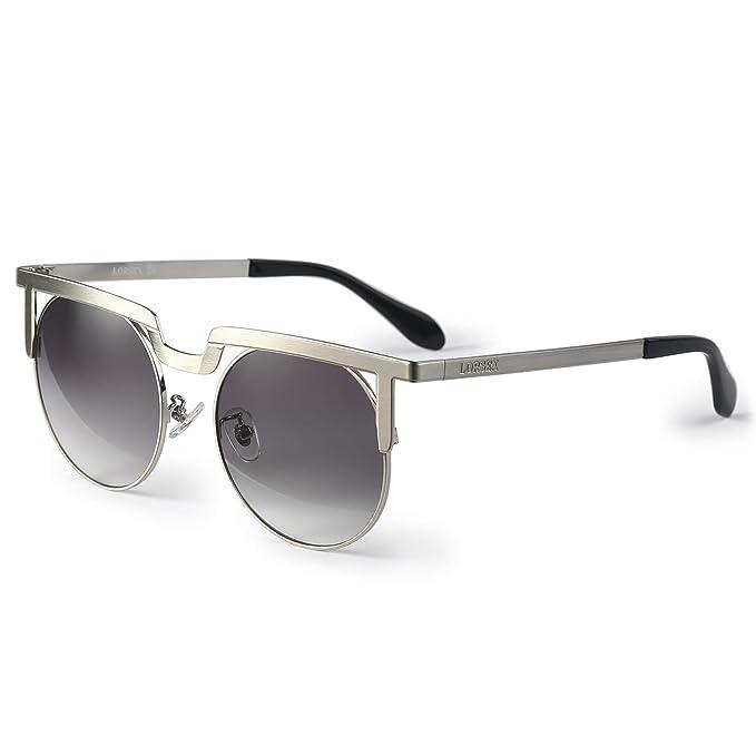 LORSEX Gafas de sol Mujer Marco de metal Retro Gafas de sol ...