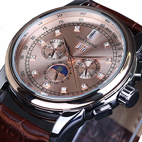 Fanmis Male Brown Leather Strap Automatic Mechanical Wristwatches Moon Phase Calendar Rose Gold