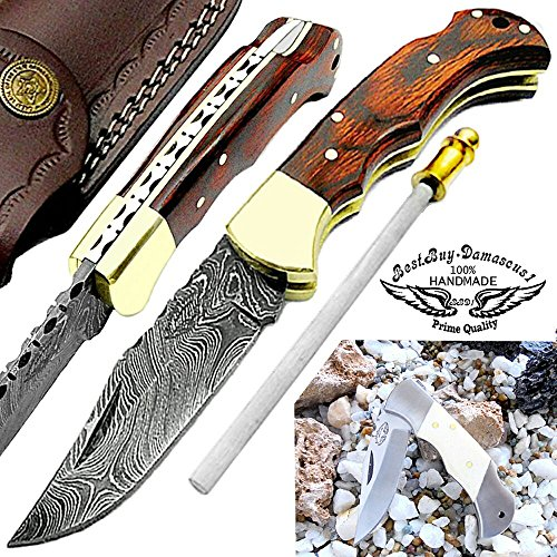 Red Wood 6.5'' Custom Handmade Damascus Steel Brass Bloster Back Lock Folding Pocket Knife 100% Prime Quality with Sharpening Rod Plus Beautiful Camel Bone Stainless Steel Pocket Knive by Best.Buy.Damascus1