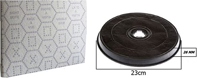 1 x filtro 38 para campana extractora Faber de carbón activado con mariposa + 1 x gamuza. De 2,6 cm de altura x 23,2 cm de diámetro: Amazon.es: Hogar