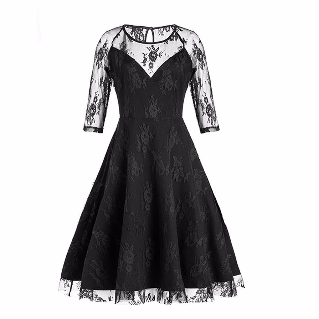 OverDose Damen Partykleider Frauen Vintage Spitze Formale Patchwork ...