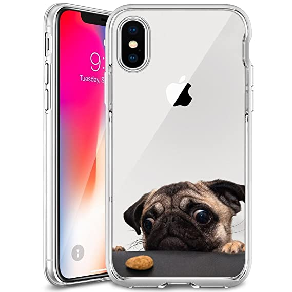 best cheap 9c15d c5b04 Cute Funny Pug Clear Phone Case for iPhone X Customized Design by MERVELLE  TPU Clear Shock-Proof Protective Case [Ultra Slim, Anti-Slippery]