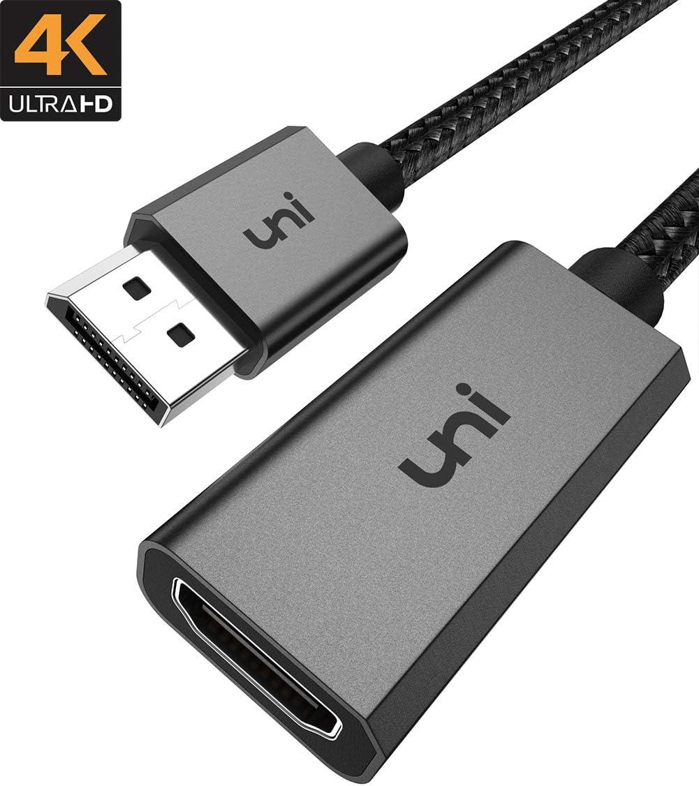 DisplayPort to HDMI Adapter, uni DP to HDMI Adapter (4K UHD) Uni-Directional Display Port to HDMI Converter Compatible for Lenovo, HP, DELL, GPU, AMD, NVIDIA and More