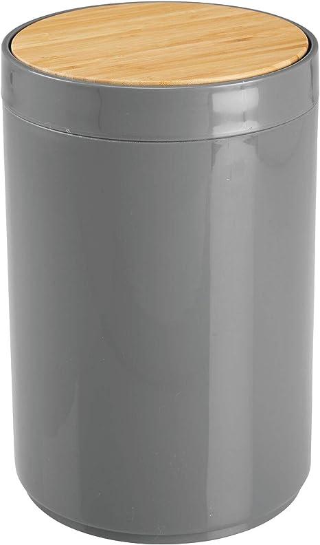 Mdesign Praktischer Mülleimer Küche Moderner Abfalleimer Aus Bambus Und Kunststoff Für Bad Büro Und Küche Mit 5l Fassungsvermögen Stabiler Papierkorb Mit Deckel Anthrazit Und Bambusfarben